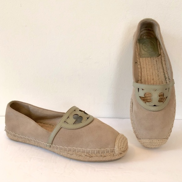 Tory Burch Sidney Tan Suede/Leather Espadrilles